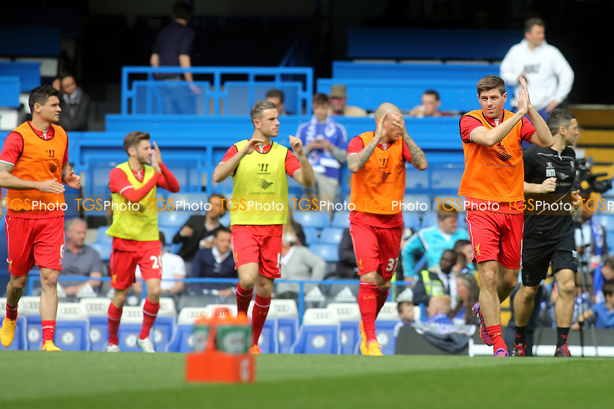 Steven Gerrard leads out the Liverpool players for the pre-match warm up - Chelsea vs Liverpool - Barclays Premier League Football at Stamford Bridge, London - 10/05/15 - MANDATORY CREDIT: Paul Dennis/TGSPHOTO - Self billing applies where appropriate - contact@tgsphoto.co.uk - NO UNPAID USE