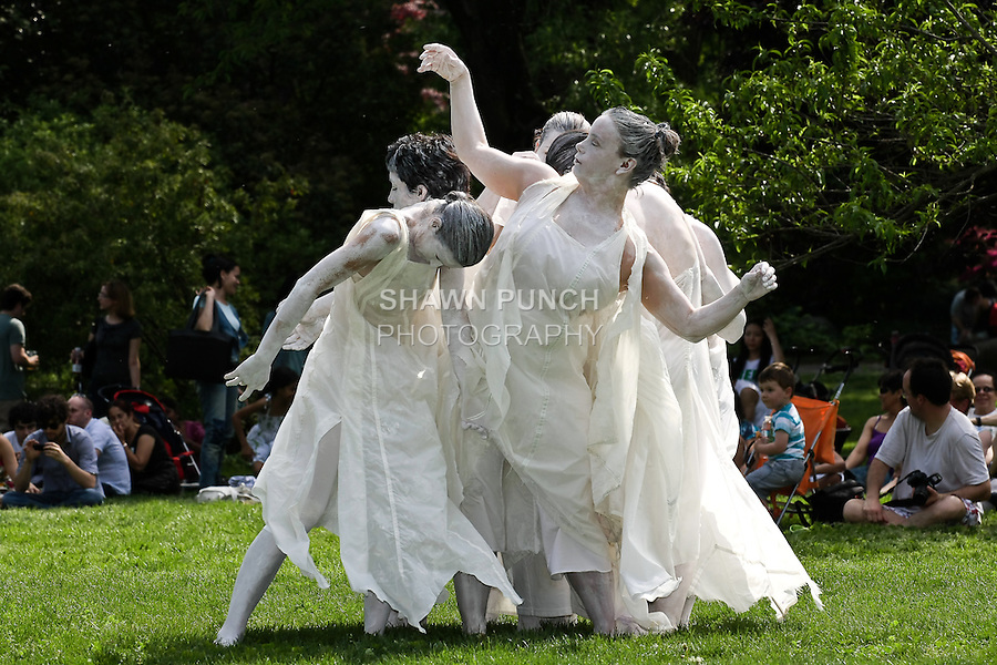 Dean Street FOO Dance members perform Butoh Dance in Brooklyn Botanic Garden Meadow, during Sakura Matsuri Cherry Blossom Festival, May 02, 2010.