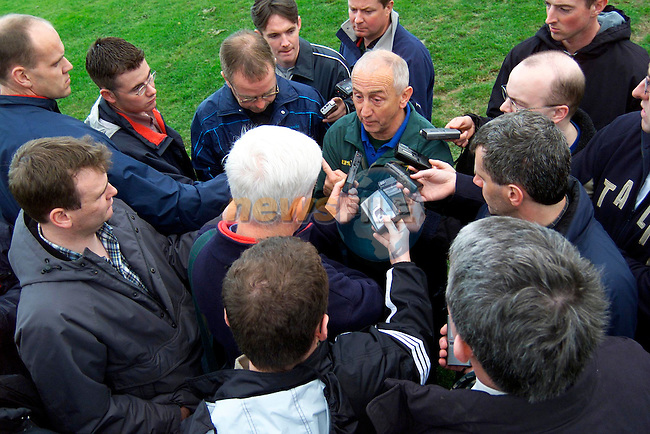Sean Boylan talking to reporters at the Meath training session in Dunsany..Picture: Paul Mohan/Newsfile