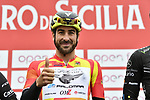 Yesterday's stage winner and race leader Riccardo Stacchiotti (ITA) Giotti Victoria-Palomar Continental team at sign on before the start of Stage 2 of Il Giro di Sicilia running 236km from Capo d'Orlando to Palermo, Italy. 4th April 2019.<br /> Picture: LaPresse/Fabio Ferrari | Cyclefile<br /> <br /> <br /> All photos usage must carry mandatory copyright credit (© Cyclefile | LaPresse/Fabio Ferrari)