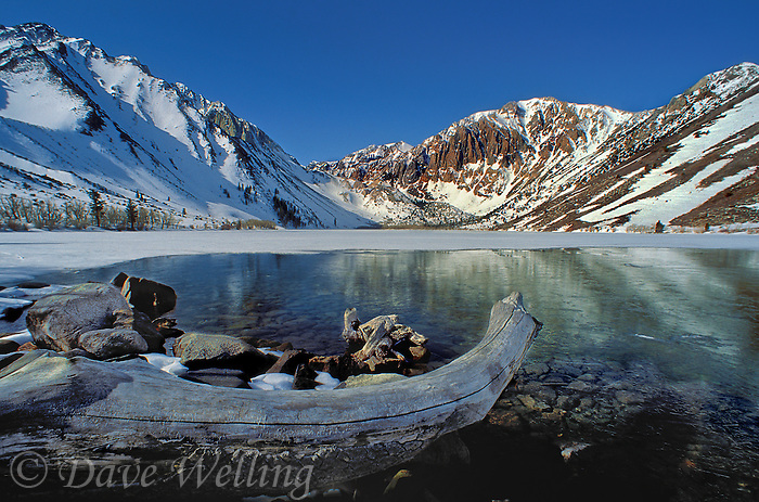 742900029 winter snow covers the eastern sierras surrounding convict lake in the sierra mountain range in north central california