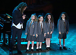 Writer/composer Tim Minchin performs onstage with the cast of 'Matilda' during the presentation of the 2013 Actors Fund Annual Gala honoring Robert De Niro at the Mariott Marquis Hotel in New York on 4/29/2013.