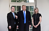 U.S. President Donald Trump poses with Pastor Andrew Brunson (L) and his wife Norine outside the Oval Office of the White House on October 13, 2018 in Washington, DC. Pastor Andrew Brunson arrived back in the U.S. on Saturday after being held in Turkey for two years on terrorism charges. <br /> Credit: Olivier Douliery / Pool via CNP