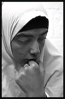 """Obeida Khalil  27, a Palestinian """"would be suicide bomber"""" is seen at Hasharon Prison, February 25, 2004. Photo by Quique Kierszenbaum"""