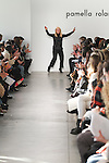Fashion designer Pamella Roland thanks audience for attending her Pamella Roland Fall Winter 2017 collection fashion show February 10, 2017, at Pier59 Studios, during New York Fashion Week: Women's Fall Winter 2017.
