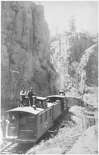 Caboose hop in Box Canyon. [See RD036-077 for another view.]  [See RD036-079 for an enlargement.]<br /> D&amp;RG  Box Canyon (Calumet Branch), CO  Taken by Erdlen, C. W.