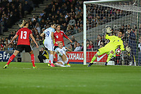 Isobel Christiansen (Manchester City) of England Women (2nd right) scores her team's third goal of the game to make the score 3-0 during the Women's Friendly match between England Women and Austria Women at stadium:mk, Milton Keynes, England on 10 April 2017. Photo by PRiME Media Images / David Horn.