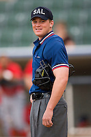 Home plate umpire Ian Fazio prior to the start of a South Atlantic League baseball game between the Lakewood BlueClaws and the Kannapolis Intimidators at Fieldcrest Cannon Stadium July 8, 2009 in Kannapolis, North Carolina. (Photo by Brian Westerholt / Four Seam Images)
