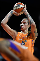 Washington, DC - July 30, 2019: Phoenix Mercury center Brittney Griner (42) shoots a free throw during game between the Phoenix Mercury and Washington Mystics at the Entertainment & Sports Arena in Washington, DC. The Mystics defeated the Mercury 99-93. (Photo by Phil Peters/Media Images International)