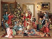 Interlitho-Simonetta, CHRISTMAS SANTA, SNOWMAN, WEIHNACHTSMÄNNER, SCHNEEMÄNNER, PAPÁ NOEL, MUÑECOS DE NIEVE, paintings+++++,santa living room,KL6115,#X# ,puzzle ,victorian,retro