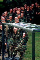 Recruits on training confidence course, Lackland AFB, San Antonio, Texas