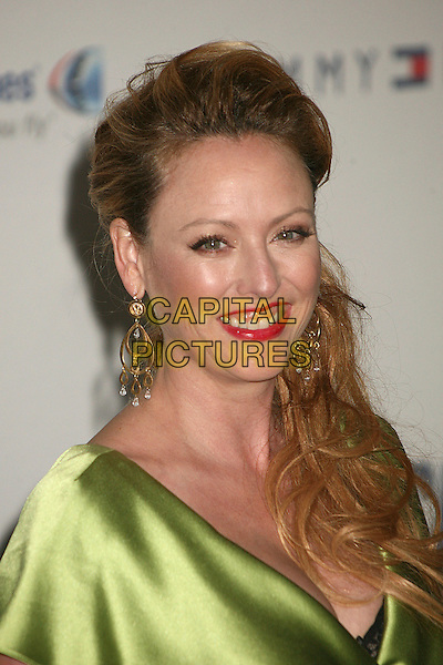 "VIRGINIA MADSEN.14th Annual Race to Erase MS Themed ""Dance to Erase MS"" at the Century Plaza Hotel, Century City, California, USA, 13 April 2007..portrait headshot red lipstick green dress gold earrings.CAP/ADM/BP.©Byron Purvis/AdMedia/Capital Pictures."