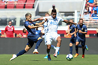 Santa Clara, CA - Sunday July 22, 2018: Andreas Pereira, Fatai Alashe during a friendly match between the San Jose Earthquakes and Manchester United FC at Levi's Stadium.