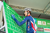 6th September 2017, Mansfield, England; OVO Energy Tour of Britain Cycling; Stage 4, Mansfield to Newark-On-Trent;  Adam Hartley of the Great Britain-GBR team signs-in at Registration before the race starts
