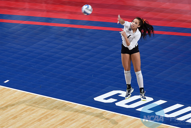 COLUMBUS, OH - DECEMBER 17:  Micaya White (1) of the University of Texas serves against Stanford University during the Division I Women's Volleyball Championship held at Nationwide Arena on December 17, 2016 in Columbus, Ohio.  Stanford defeated Texas 3-1 to win the national title. (Photo by Jamie Schwaberow/NCAA Photos via Getty Images)