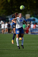 Kansas City, MO - Sunday August 28, 2016: Frances Silva, Kathryn Schoepfer during a regular season National Women's Soccer League (NWSL) match between FC Kansas City and the Boston Breakers at Swope Soccer Village.