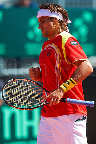 06.04.2012 Oropesa, Spain. Quarter Final Davis Cup.David Ferrer celebrates a point during second match of Quarter finals  game of Davis Cup played at Oropesa town.