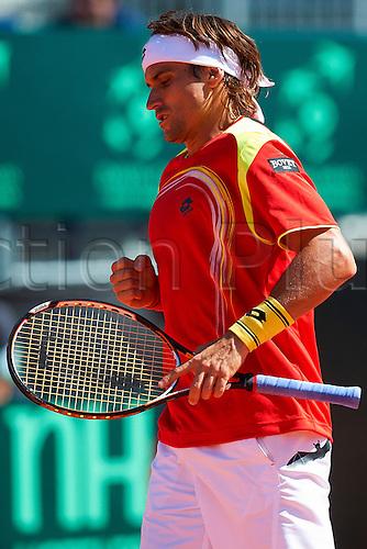 06.04.2012 Oropesa, Spain. Quarter Final Davis Cup.David Ferrer celebrates a point during second match of Quarter finals  game of Davis Cup played at Oropesa town.