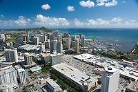 AErial of Ala Moana Shopping Center, Magic Island and neighborhood looking towards Diamond Head