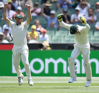29th December 2019; Melbourne Cricket Ground, Melbourne, Victoria, Australia; International Test Cricket, Australia versus New Zealand, Test 2, Day 4; Joe Burns and Tim Paine of Australia celebrate the wicket of Taylor bowled by Pattinson for 2 runs - Editorial Use