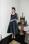 Caroline poses in a marine blue fit and flare dress with 3/4 sleeve, from the Barbara Tfank Fall Winter 2019 collection on February 13, 2019 at The Elizabeth Collective during New York Fashion Week.