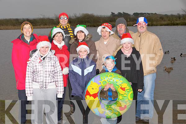 LOCH SWIM: Some of the ,locals from Lerrig, Kilmoyley who launched their Christmas Day Slash in Lerrig Loch on Thursday. Front l-r: Emma Curran, Sarah Walsh, Ciarán Sheehy and Saoire Sheehy. Back l-r: Eilín Loibféad, Padraig Regan, Bernie Meehan, Susan Curran, Mary Walsh, John Fitzgerald and Mike Curran.