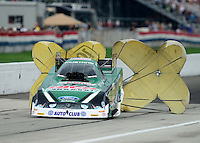 Sept. 1, 2012; Claremont, IN, USA: NHRA funny car driver John Force during qualifying for the US Nationals at Lucas Oil Raceway. Mandatory Credit: Mark J. Rebilas-