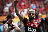Brasília (DF), 16/02/2020 - Gabriel  do Flamengo comemora título da Supercopa. Partida entre Flamengo e Athletico Paranaense pela Supercopa no estádio Mané Garrincha em Brasília, neste domingo (16).