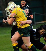 Aleisha Nelson tackles Victoria Latu during the 2017 International Women's Rugby Series rugby match between the NZ Black Ferns and Australia Wallaroos at Rugby Park in Christchurch, New Zealand on Tuesday, 13 June 2017. Photo: Dave Lintott / lintottphoto.co.nz