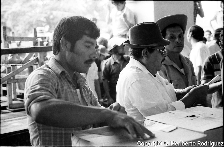 Revolutionay Institucional Party (PRI) representatives handle ballots during municipality elections in Juchitan, Oaxaca, November 20, 1983.  © Photo by Heriberto Rodriguez