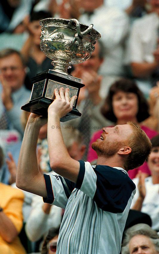 Photo. Abbey Wells.Austrailan Open, Melbourne, Austraila. 1996.Boris Becker with the trophy