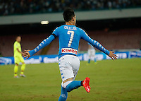 Jose Callejon celebrates after scoring during the  italian serie a soccer match,between SSC Napoli and   Bologna FC    at  the San  Paolo   stadium in Naples  Italy , September 18, 2016
