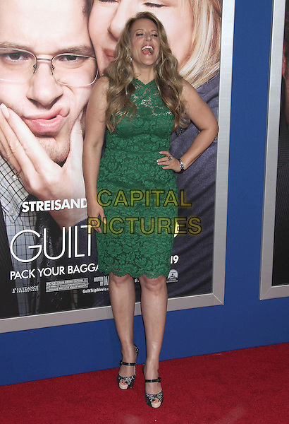 "Anne Fletcher.""The Guilt Trip"" Los Angeles Premiere held at the Regency Village Theatre, Westwood, California, USA..December 11th, 2012.full length green lace dress hand on hip mouth open smiling laughing .CAP/ADM/RE.©Russ Elliot/AdMedia/Capital Pictures."