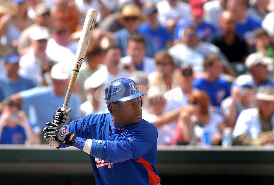 Mar 21, 2007; Mesa, AZ, USA; Texas Rangers right fielder (21) Sammy Sosa against the Chicago Cubs at Hohokam Park in Mesa, AZ. Mandatory Credit: Mark J. Rebilas