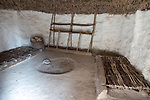Re-creation of neolithic home, contents, furniture, beds, Stonehenge, Wiltshire, England, UK