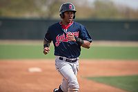 Cleveland Indians outfielder Pedro Alfonseca (27) during a Minor League Spring Training game against the Chicago White Sox at Camelback Ranch on March 16, 2018 in Glendale, Arizona. (Zachary Lucy/Four Seam Images)