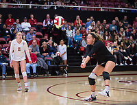 STANFORD, CA - November 15, 2017: Morgan Hentz, Kate Formico at Maples Pavilion. The Stanford Cardinal defeated USC 3-0 to claim the Pac-12 conference title.