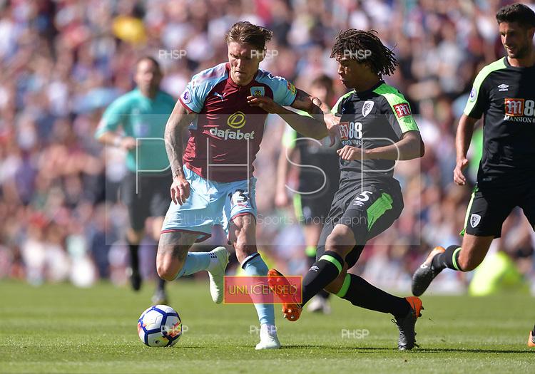 13/05/2018 Premier League Burnley v AFC Bournemouth<br /> <br /> Jeff Hendrick holds off Nathan Ake
