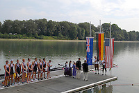 Ottensheim, AUSTRIA.  A  Final,  USA JM8+   Silver Medallist, Watch the national flags be raised, at the 2008 FISA Senior and Junior Rowing Championships,  Linz/Ottensheim. Saturday,  26/07/2008.  [Mandatory Credit: Peter SPURRIER, Intersport Images] Rowing Course: Linz/ Ottensheim, Austria