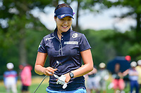 In Gee Chun (KOR) after sinking her putt on 1 during Saturday's third round of the 72nd U.S. Women's Open Championship, at Trump National Golf Club, Bedminster, New Jersey. 7/15/2017.<br /> Picture: Golffile | Ken Murray<br /> <br /> <br /> All photo usage must carry mandatory copyright credit (&copy; Golffile | Ken Murray)