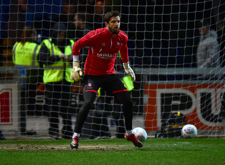 Lincoln City's Josh Vickers during the pre-match warm-up<br /> <br /> Photographer Andrew Vaughan/CameraSport<br /> <br /> The EFL Sky Bet League Two - Mansfield Town v Lincoln City - Monday 18th March 2019 - Field Mill - Mansfield<br /> <br /> World Copyright © 2019 CameraSport. All rights reserved. 43 Linden Ave. Countesthorpe. Leicester. England. LE8 5PG - Tel: +44 (0) 116 277 4147 - admin@camerasport.com - www.camerasport.com