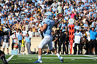CHAPEL HILL, NC - SEPTEMBER 21: Sam Howell #7 of the University of North Carolina drops back to pass the ball during a game between Appalachian State University and University of North Carolina at Kenan Memorial Stadium on September 21, 2019 in Chapel Hill, North Carolina.