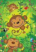 Sarah, CUTE ANIMALS, LUSTIGE TIERE, ANIMALITOS DIVERTIDOS, paintings+++++JungleMonkeys-16-A,USSB462,#AC#, EVERYDAY