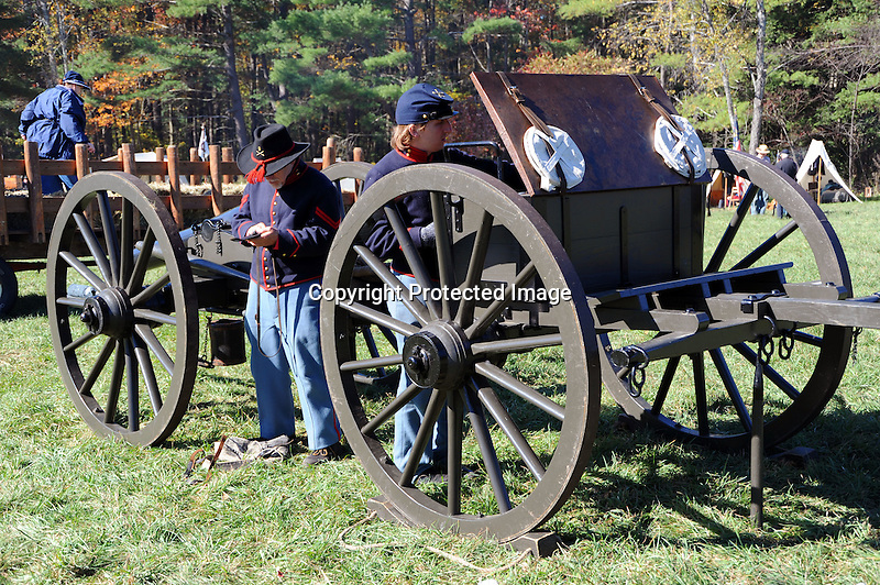 Civil War Reenactment Union Camp Soldiers and Cannon
