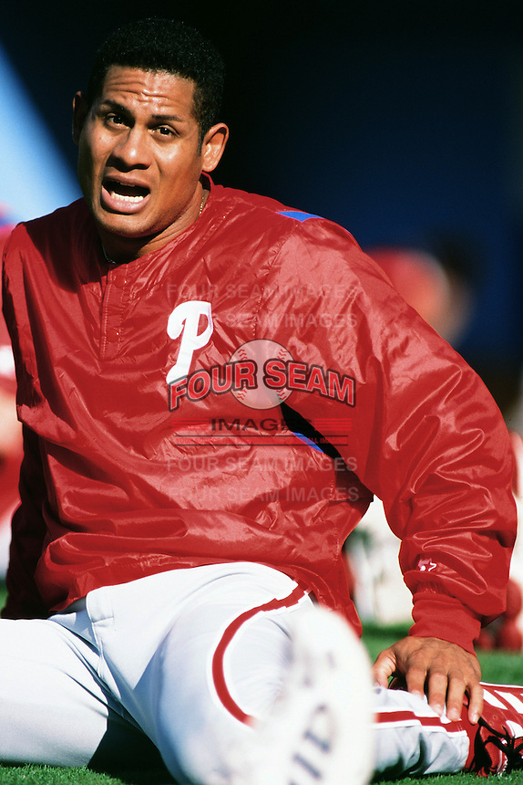 Bobby Abreu of the Philadelphia Phillies during a game against the Los Angeles Dodgers at Dodger Stadium circa 1999 in Los Angeles, California. (Larry Goren/Four Seam Images)