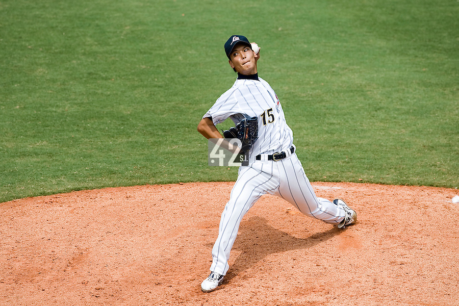 22 August 2007: #15 Kyohei Muranaka pitches against France during the Japan 9-4 victory over France in the Good Luck Beijing International baseball tournament (olympic test event) at west Beijng's Wukesong Baseball Field in Beijing, China.