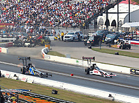 Sep 4, 2017; Clermont, IN, USA; NHRA top fuel driver Steve Torrence (right) alongside Ashley Sanford during the US Nationals at Lucas Oil Raceway. Mandatory Credit: Mark J. Rebilas-USA TODAY Sports