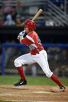 Batavia Muckdogs outfielder Cameron Newell (49) at bat during a game against the Mahoning Valley Scrappers on June 23, 2015 at Dwyer Stadium in Batavia, New York.  Mahoning Valley defeated Batavia 11-2.  (Mike Janes/Four Seam Images)