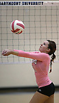 Marymount's Bri Fitzpatrick passes during a college volleyball match against Shenandoah at Marymount University in Arlington, Vir., on Tuesday, Oct. 8, 2013.<br /> Photo by Cathleen Allison
