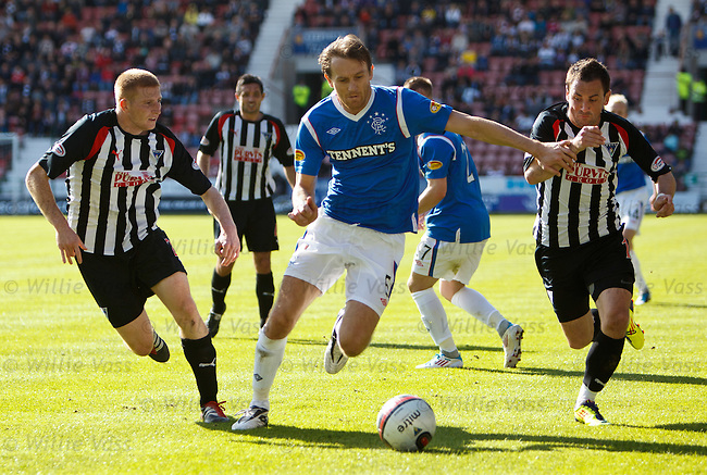 Sasa Papac goes past Dunferline's Jason Thomson and David Graham